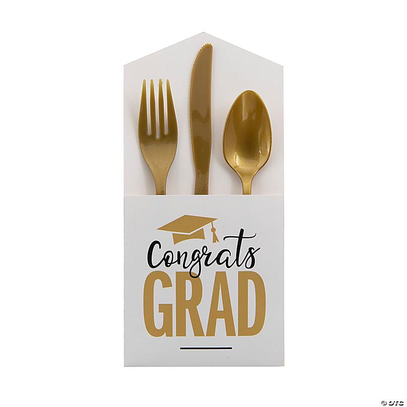 Personalized Silverware Holder Utensil Holder Class of 2018 Graduate Set of 5-100 pcs Custom Graduation Silverware Bags
