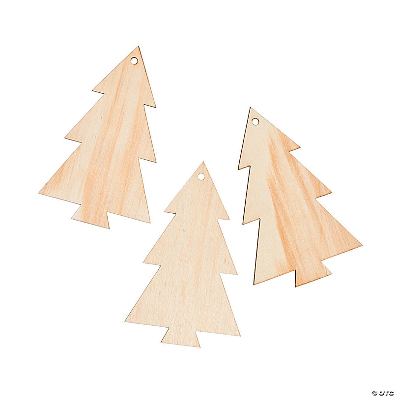 Natural DIY Wood Crafts Slices Unfinished Wood Christmas Xmas Tree Hanging Decorations Chris.W 50Pcs Christmas Hanging Ornaments Set Paint Wooden Christmas Tree Ornaments Kit