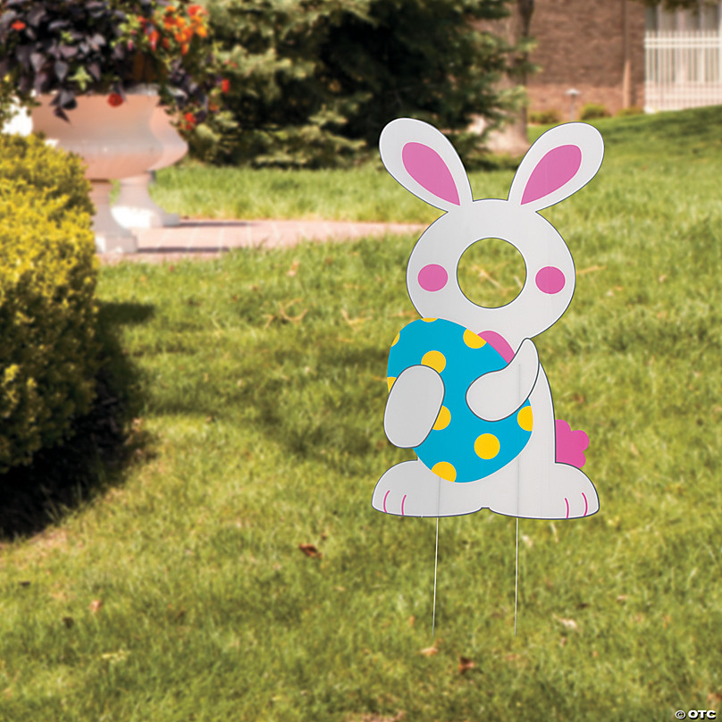 Easter Bunny Face Yard Sign Oriental