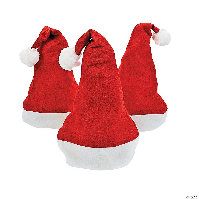 48 Pack Bulk Fleece Santa Hats NOT Felt