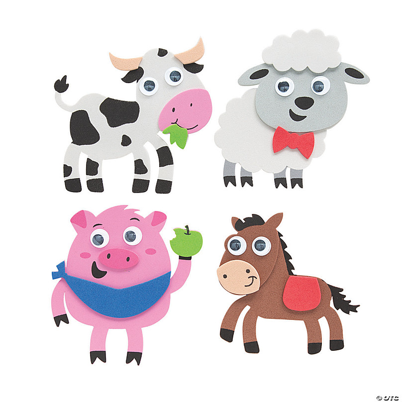 Rustic Farm Animal Magnets set of 8