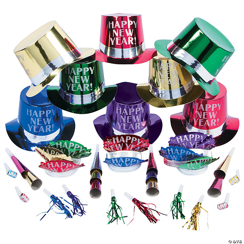 KIT FOR TEN PEOPLE NEW YEAR/'S EVE//EVENT PARTY KIT ASSORTED COLORS//HATS//LEIS