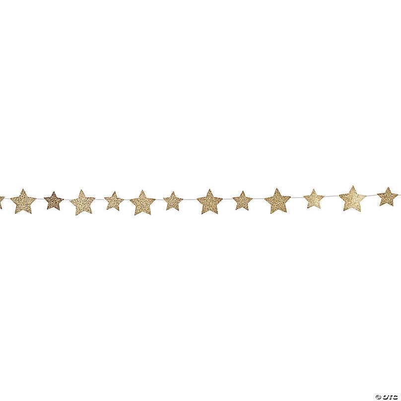 Gold Glitter Star Garland
