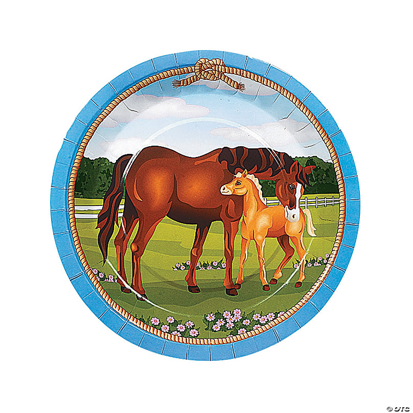 Horse Party Paper Dinner Plates - 8 Ct. | Oriental Trading
