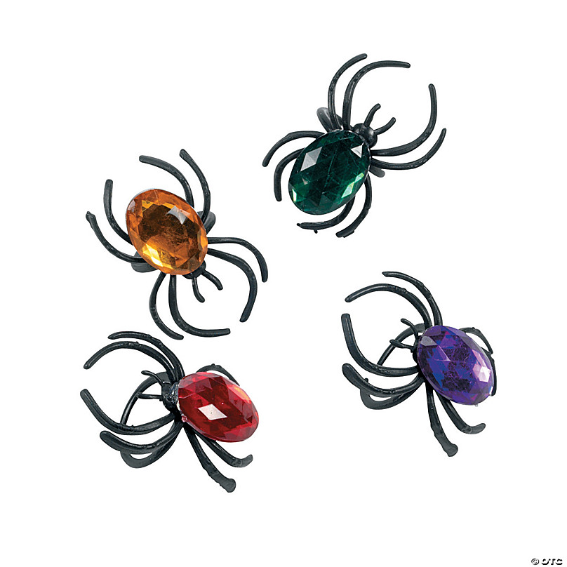 3 Colors Boao 144 Pieces Halloween Spider Rings Plastic Bat Rings Halloween Trick or Treat Rings for Kids Adults Halloween Favor