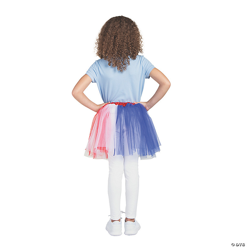 White and Blue Patriotic USA Tutu Skirt 4th of July Accessory Adult Red