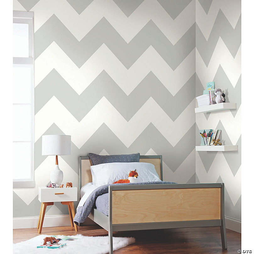 Large Chevron Grey Peel Stick Wallpaper Oriental Trading