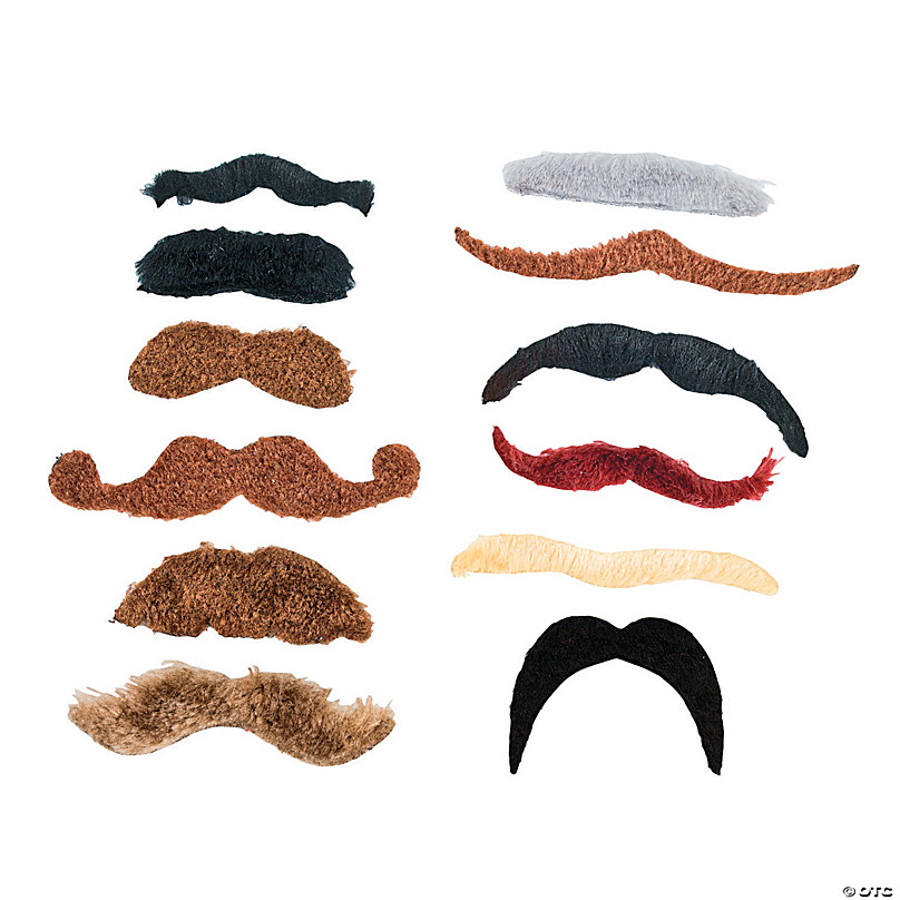 Set of 12 Black Fake Mustaches  Self Adhesive Moustaches Facial Hair Costume