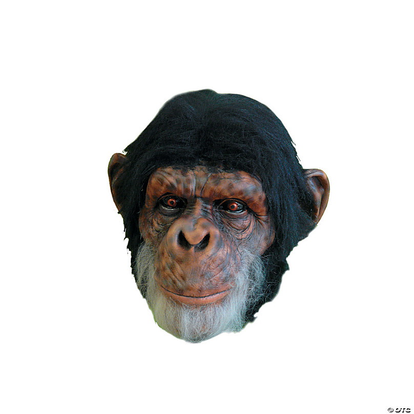 Childs Kids Realistic Gorilla Monkey Chimp Face Mask Brown Curious Animal Jungle