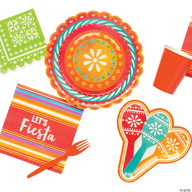 Napkins Includes 1 Maze Game Activity Card by ClassicVariety Plates Party Bundle for 36 People Cinco de Mayo Fiesta Party