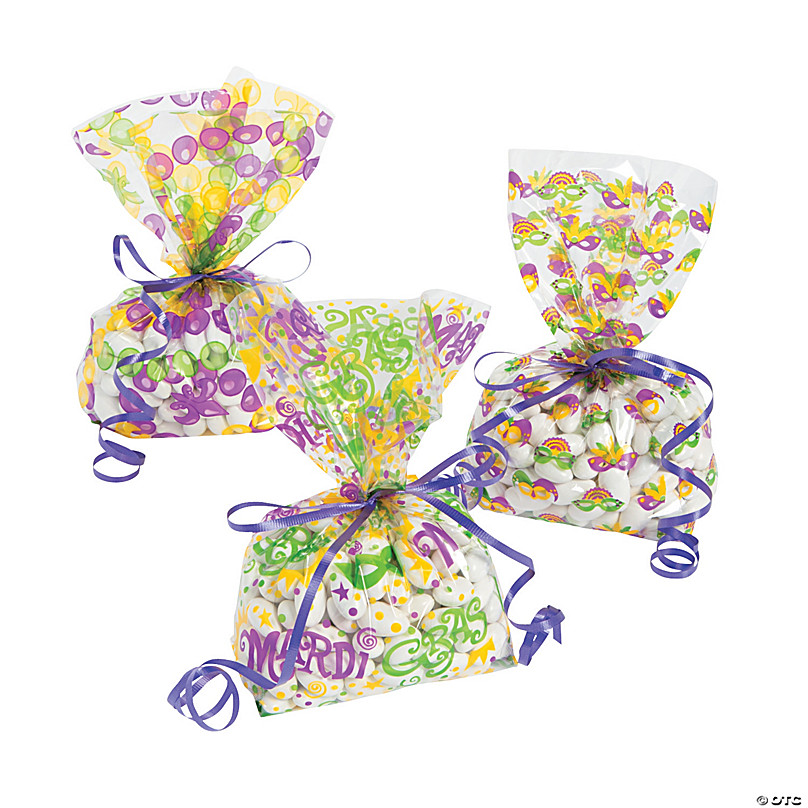 12 Pieces Mardi Gras Party Favor Bags and 18 Pieces Stickers Wrapped Bags Goody Treat Bags Paper Present Bags for Mardi Gras Party Decoration Supplies