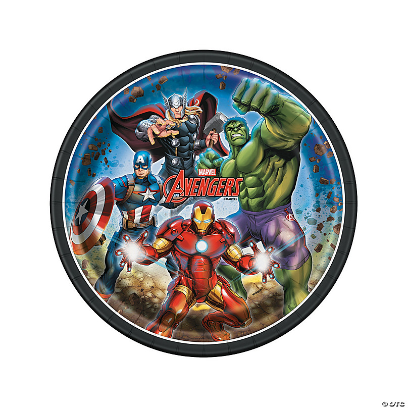 AVENGERS LARGE PAPER PLATES ~ Birthday Party Supplies Dinner Luncheon Marvel 8