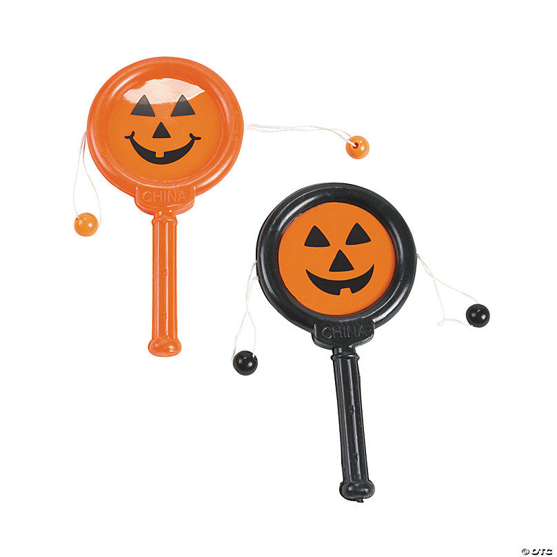 Lot Of 12 Assorted Color Mini Halloween Jack O Lantern Maraca Noisemakers US Toy