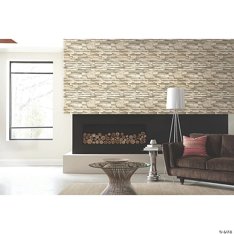 Natural Stacked Stone Peel Stick Wallpaper Oriental Trading
