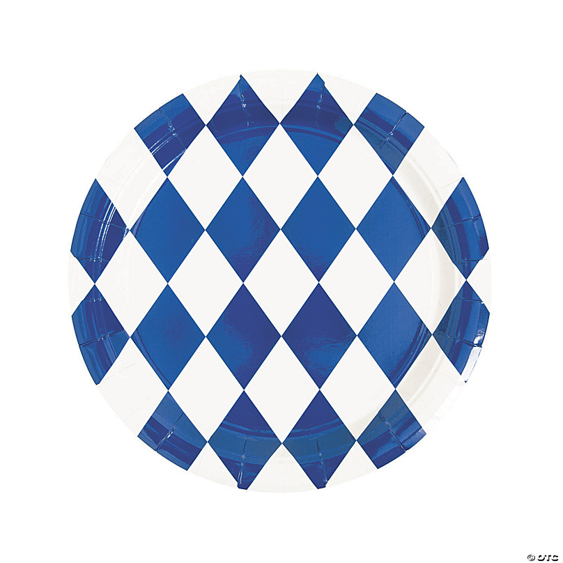 Royal Blue Striped Paper Plates 8ct