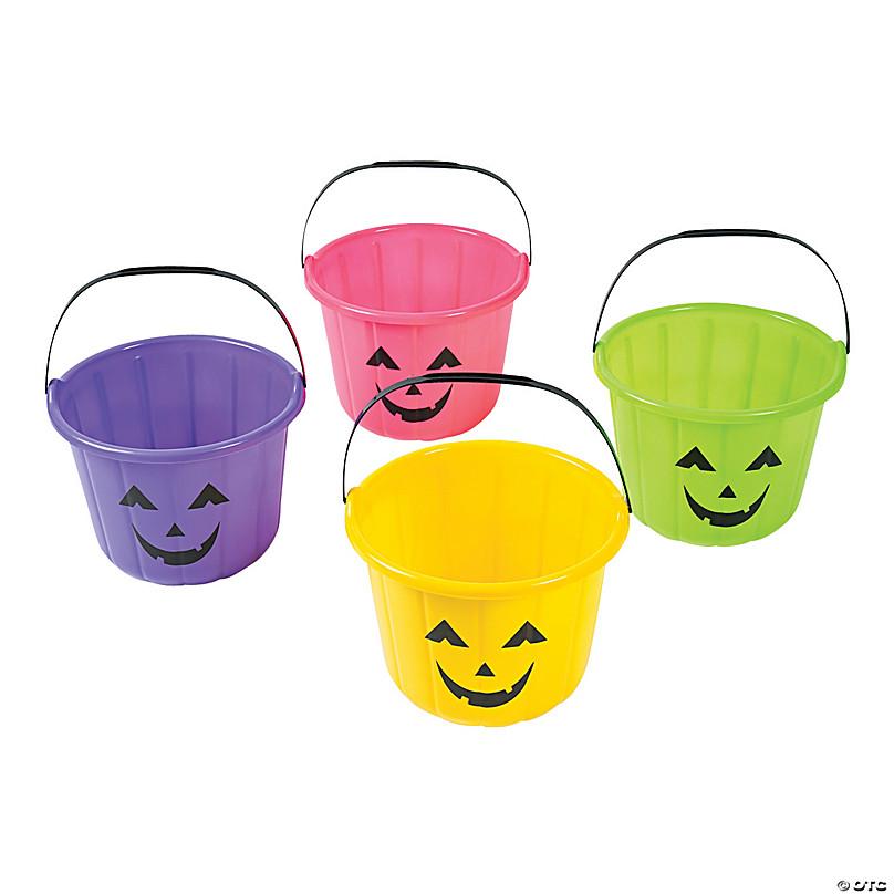 Neon Jack-O'-Lantern Trick-Or-Treat Buckets - 12 Pc.   Oriental Trading