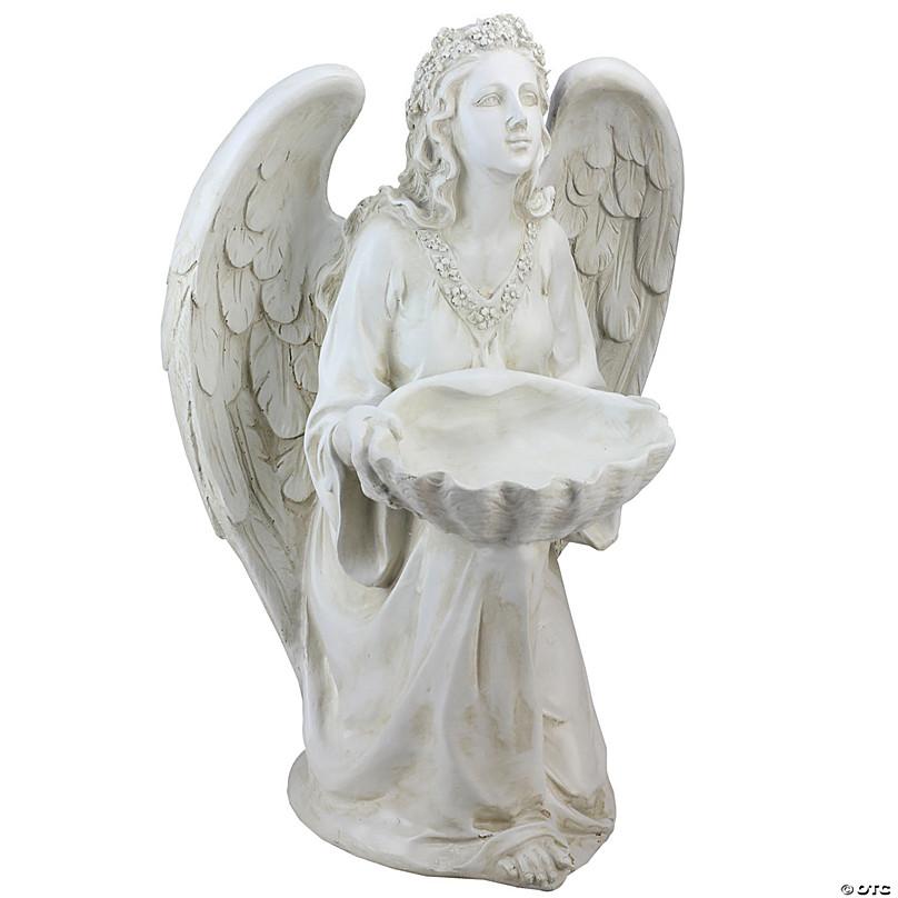 "Northlight 14/"" Fairy Holding a Bird Feeder Outdoor Garden Statue"