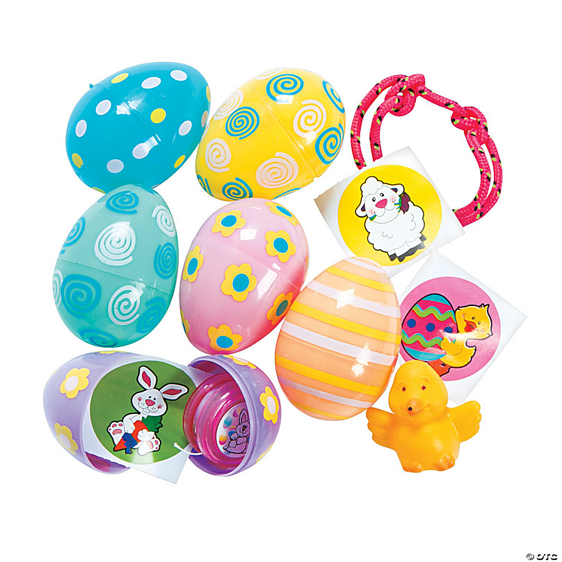 OTC Plastic Easter Eggs for Hunts or Baskets 2 inch Fill with Candy Toys Treats Bright Yellow Purple Green Pink Orange Blue Snap Tight Shut Stay Closed 36 count 6 each of 6 Colors Fun Bunny Surprise