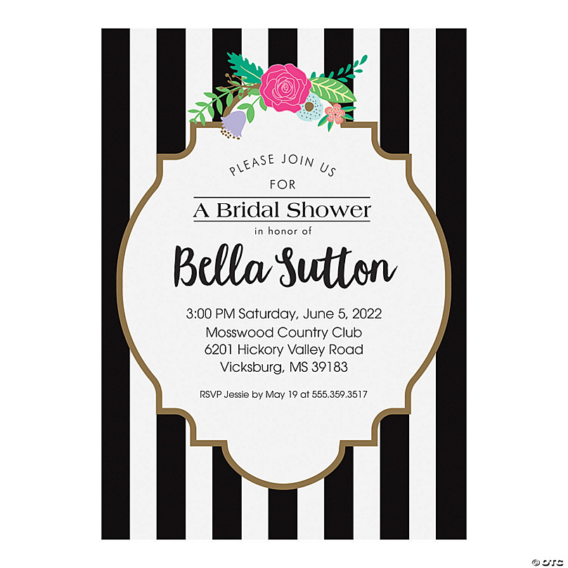 Personalized Black White Bridal
