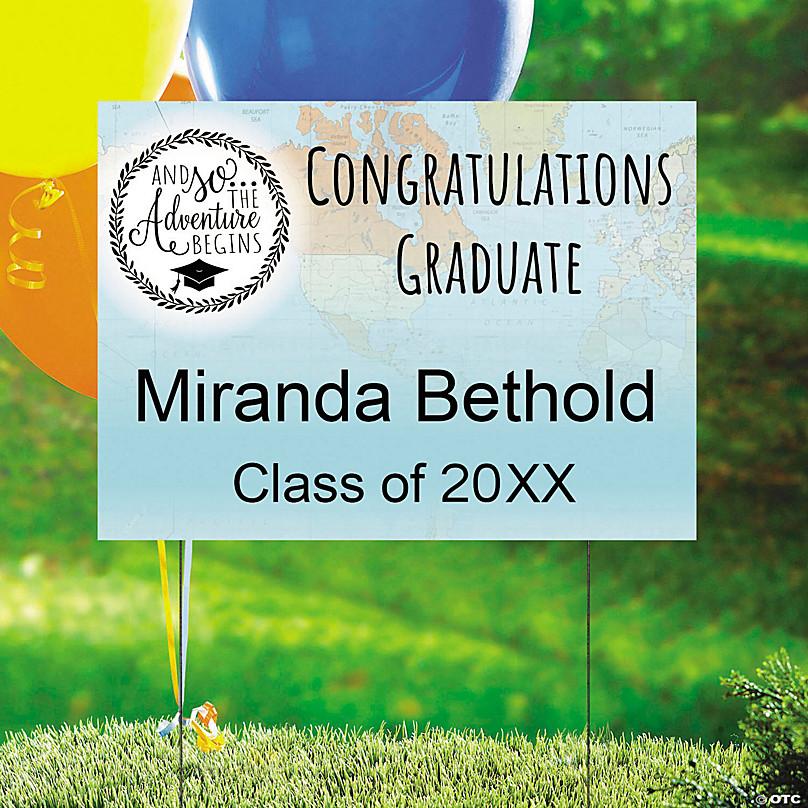 Personalized Grad Adventure Yard Sign