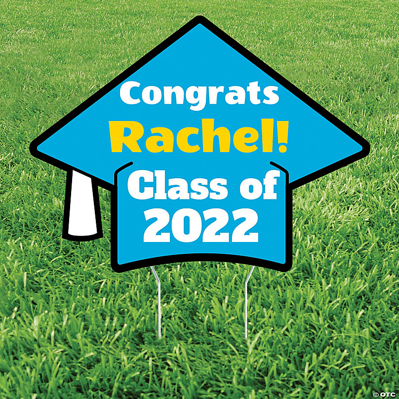 Personalized Mortarboard Hat Yard Sign