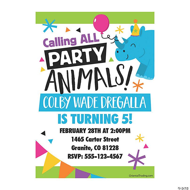 Animal Birthday Party Invitations