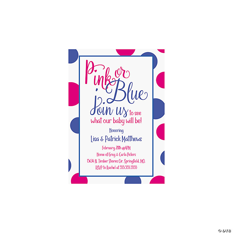 Blue Gender Reveal Party Invitations