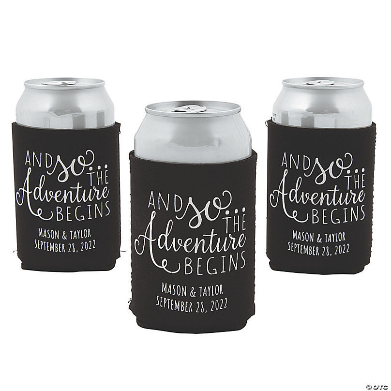 Personalized Wedding Can Coolers The Adventure Begins Personalized Wedding Favors Funny Custom Wedding Can Coolers Neoprene Can Coolers