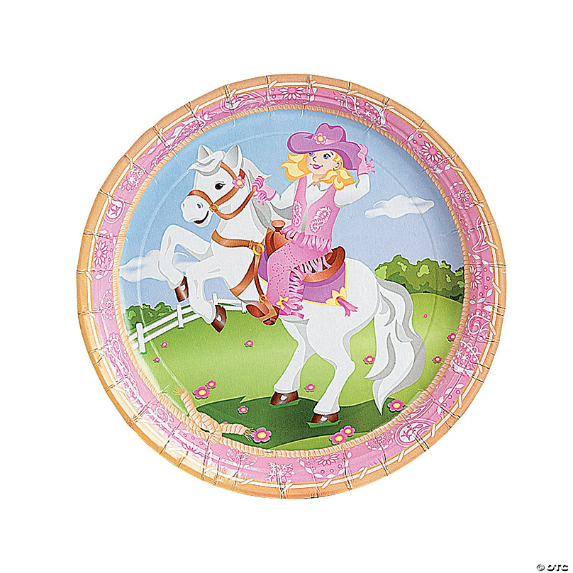 Pink Cowgirl Paper Dinner Plates - 8 Ct. | Oriental Trading