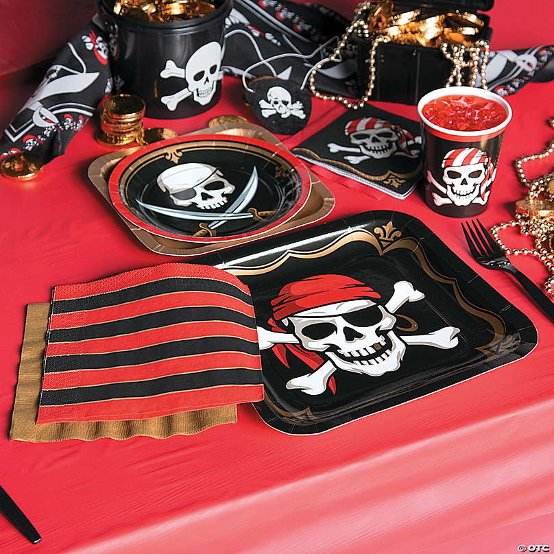 PIRATE Party Dessert Plates /& Napkins pirate swords eye patch design LOT OF 32