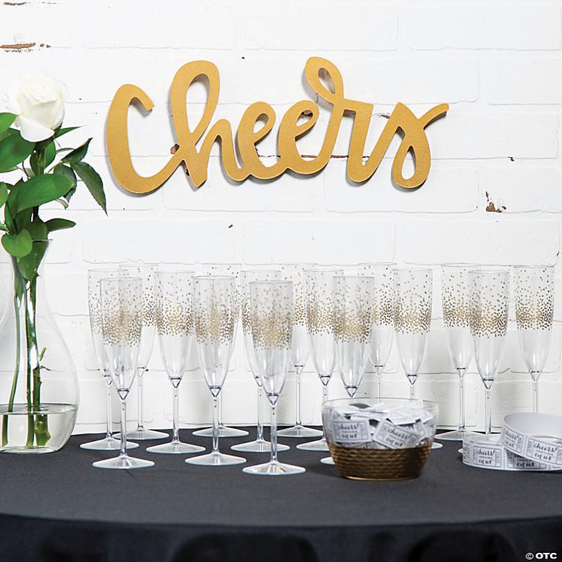 Premium Gold Dot Champagne Flutes Oriental Trading