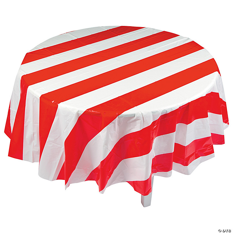 Red White Striped Round Plastic Tablecloth Oriental Trading