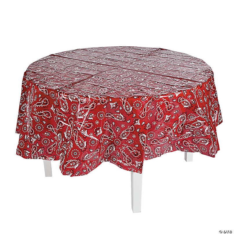 Red Bandana Round Plastic Tablecloth, Round Paper Table Covers White