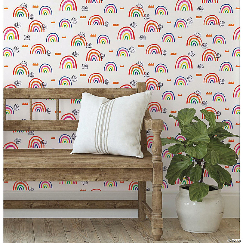 roommates rainbows end peel and stick wallpaper white red~13989405
