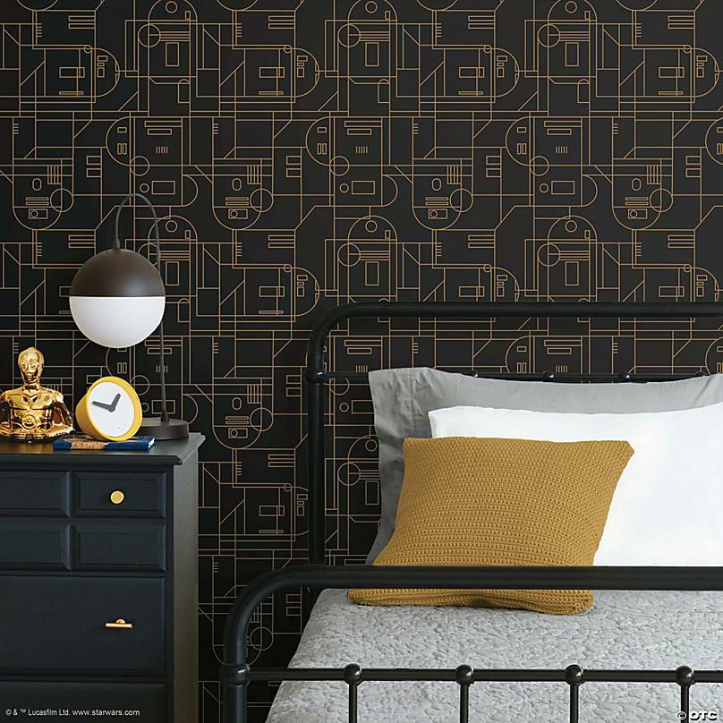 Roommates Star Wars R2d2 Geometric Peel Stick Wallpaper Black Yellow Oriental Trading
