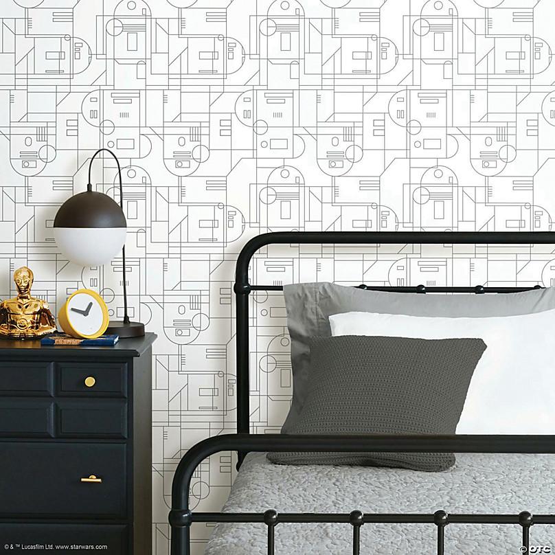 roommates star wars r2d2 geometric peel and stick wallpaper white grey~13989416
