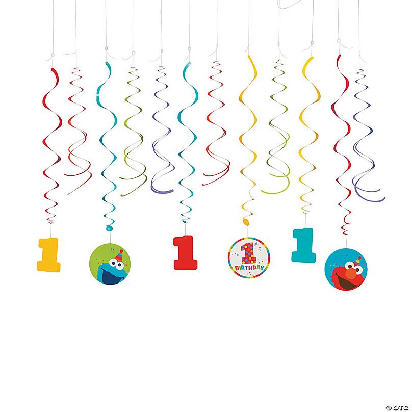 12pc Sesame Street 1st Birthday /'Elmo Turns One/' Hanging Swirl Decorations