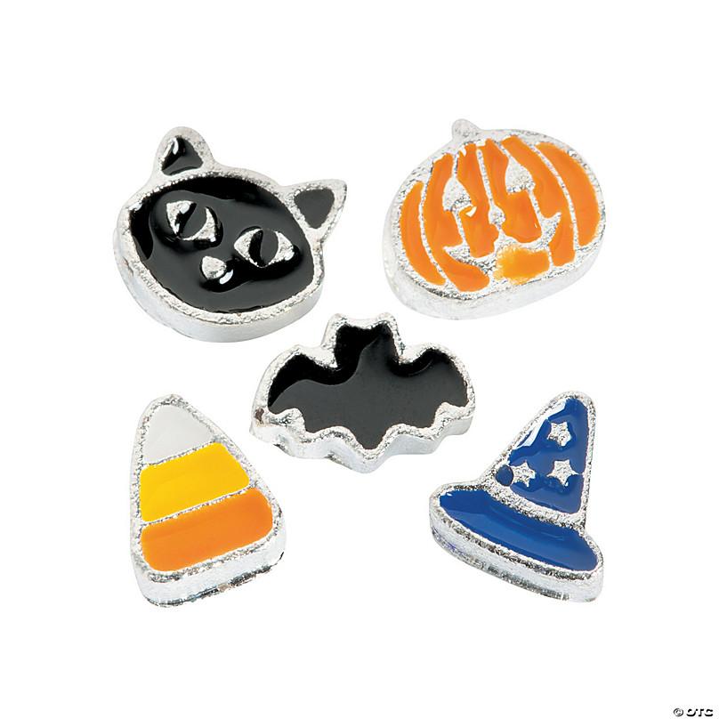 Black Halloween Silver-tone Cat  Floating Locket Charm NEW