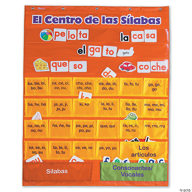 Spanish Syllables Pocket Chart With Cards Oriental Trading