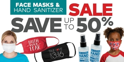 Face masks and hand sanitizer sale. Save up to 50%.