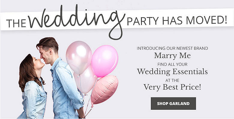 Shop garland - Visit our new wedding website Marry Me. Find all your wedding essentials at the very best prices.