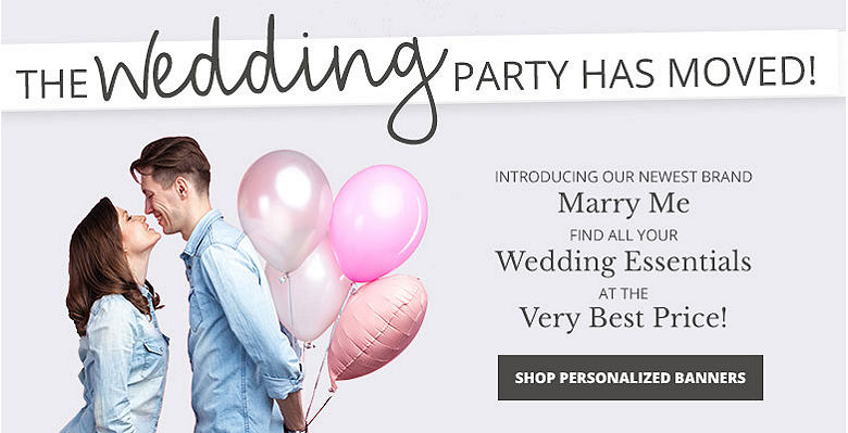 Shop Personalized banners - Visit our new wedding website Marry Me. Find all your wedding essentials at the very best prices.