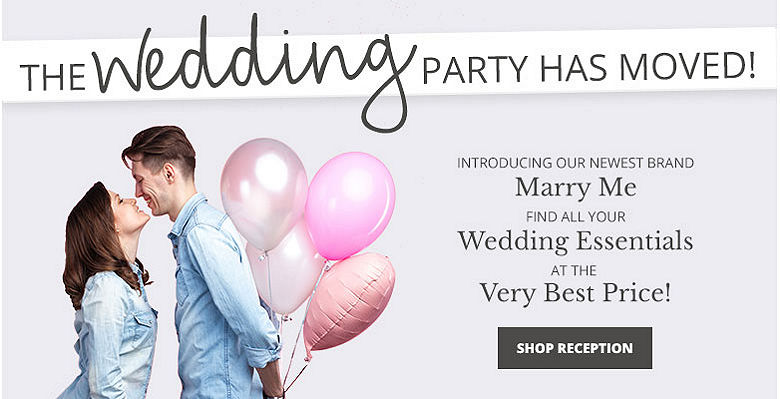 Shop Reception - Visit our new wedding website Marry Me. Find all your wedding essentials at the very best prices.