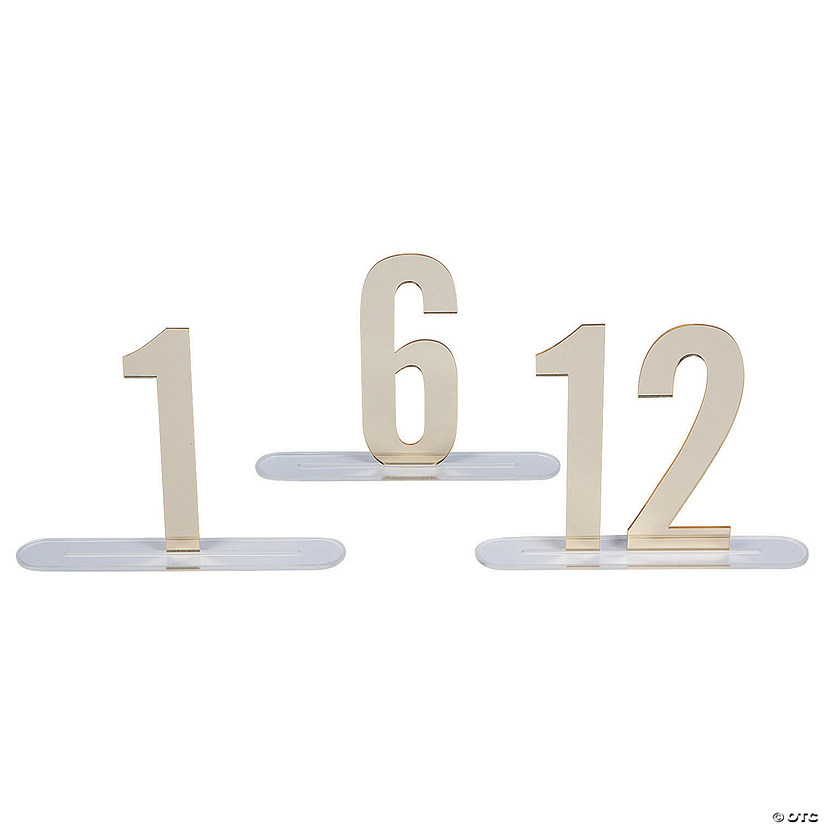 1 - 12 Gold Mirror Table Numbers