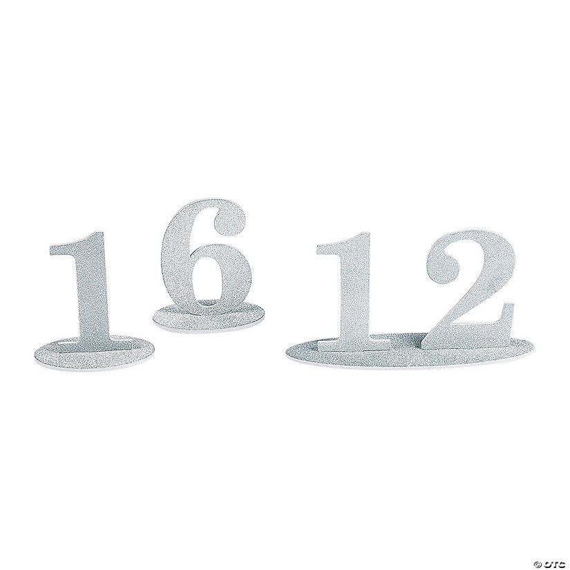 1 - 12 Silver Glitter Table Numbers