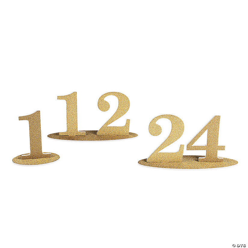 1 - 24 Gold Glitter Table Numbers Audio Thumbnail