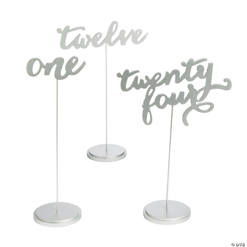 1 - 24 Silver Calligraphy Table Numbers