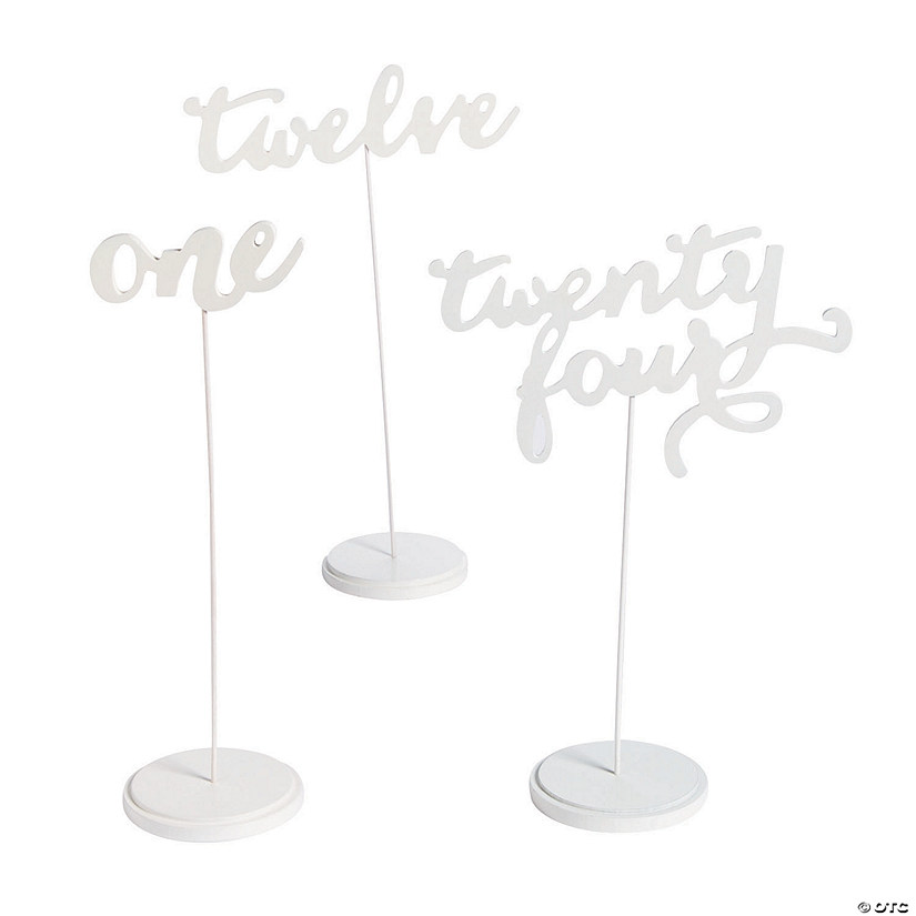 1 - 24 White Calligraphy Table Numbers