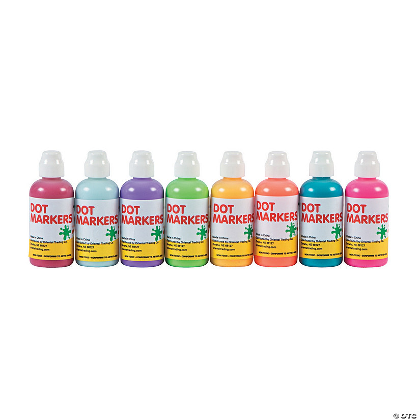 1.7 oz Tropical Assorted Colors Make a Dot Markers - Set of 8