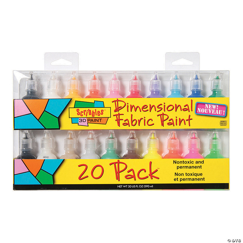 1-oz. Tulip® Scribbles Assorted Colors 3D Fabric Paint - Set of 20 Audio Thumbnail
